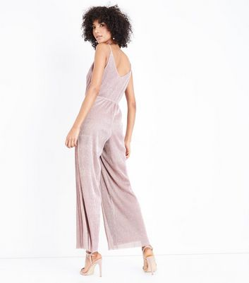 Pink Metallic Plisse Jumpsuit New Look