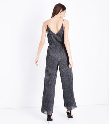 Silver Metallic Plisse Jumpsuit New Look