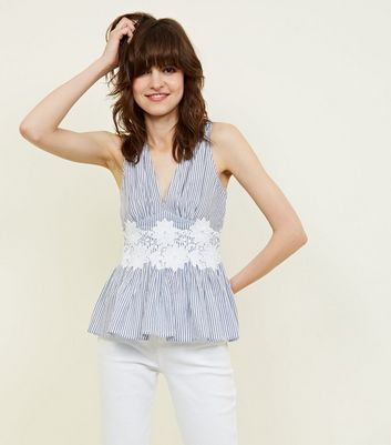 Tall Blue Stripe Appliqué Waist Peplum Top