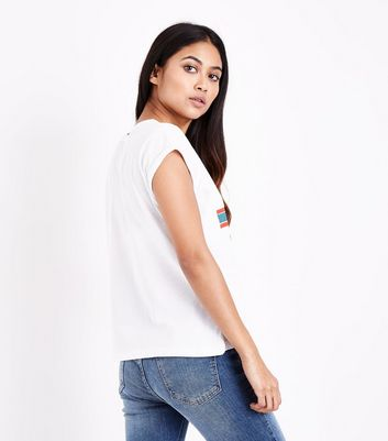 Petite White Paris Rose Print T-Shirt New Look