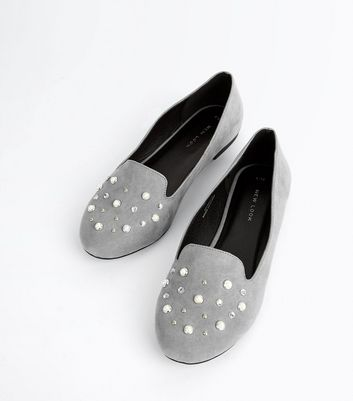 Grey Suedette Pearl Embellished Loafers New Look