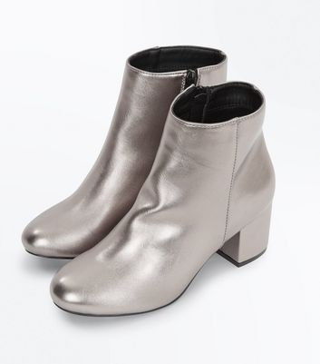 Teens Silver Metallic Block Heel Ankle Boots New Look