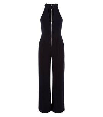 Petite Black Zip Front Split Leg Jumpsuit New Look