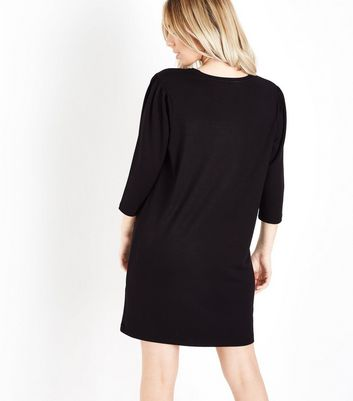 Petite Black 1/2 Sleeve Tunic Dress New Look