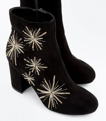 Black Star Sequin Embellished Block Heel Boots New Look