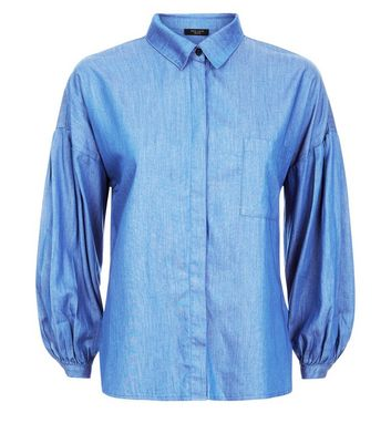 Petite Blue Balloon Sleeve Denim Shirt New Look