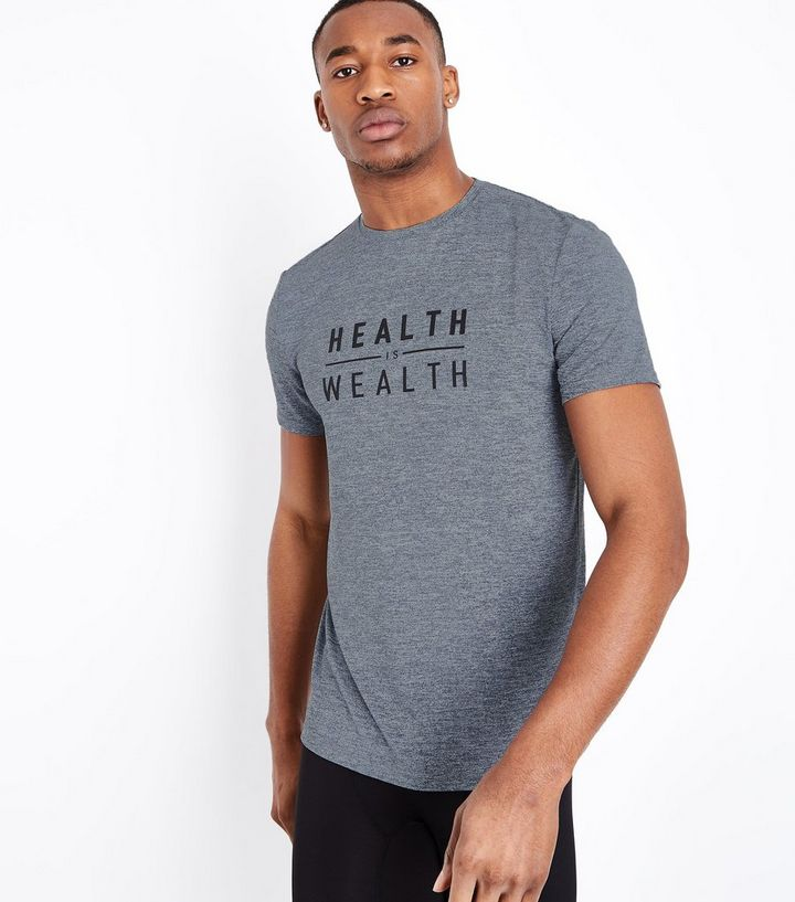 f3a89429ff07b7 Grey Marl Health is Wealth Print Sports T-Shirt