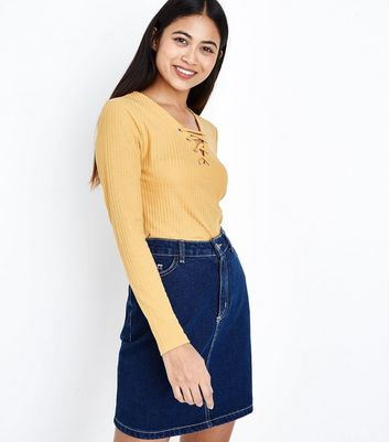 Petite Mustard Eyelet Lace Up Neck Ribbed Top New Look
