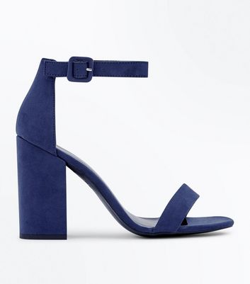 Navy Suedette Block Heel Sandals New Look