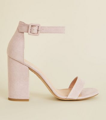 Lilac Suedette Ankle Strap Block Heels