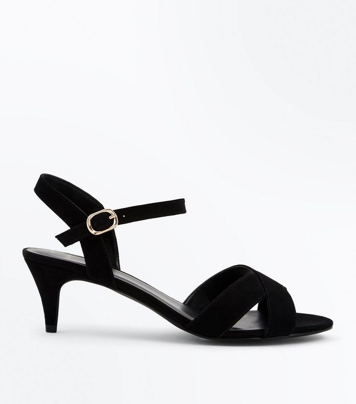 0dde786c7de Wide Fit Black Suedette Kitten Heel Sandals Add to Saved Items Remove from  Saved Items