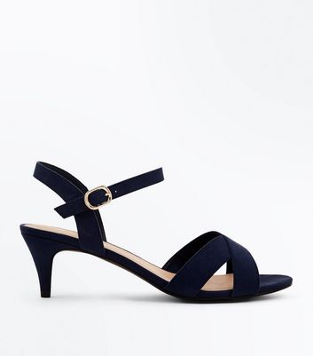 Wide Fit Navy Suedette Kitten Heel Sandals