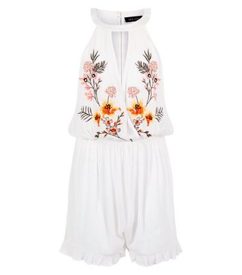 White Floral Embroidered Keyhole Beach Playsuit New Look
