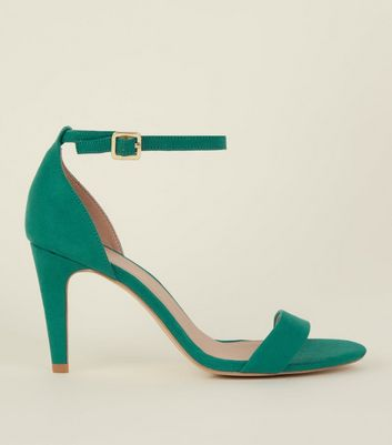 Wide Fit Green Suedette Ankle Strap Heels