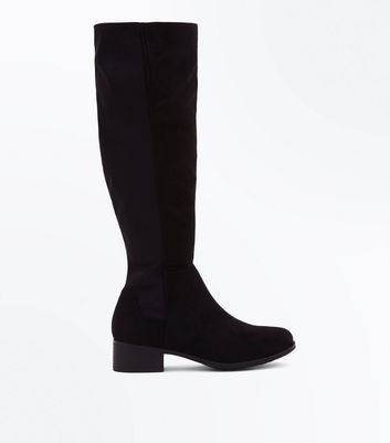 Black Suedette Zip Back Heeled Ankle Boots New Look