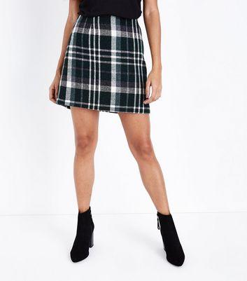 Petite Green Check Mini Skirt New Look