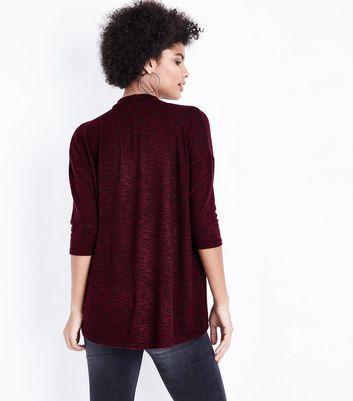 Burgundy Fine Knit Choker Neck Top New Look