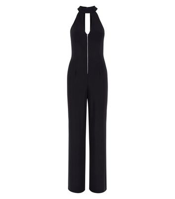 Black Zip Front High Neck Jumpsuit New Look