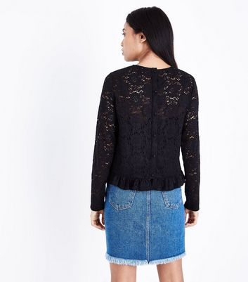 Petite Black Lace Frill Trim Top New Look