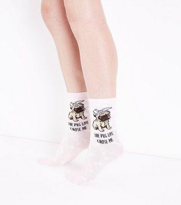Pink Pug Life Slogan Socks New Look
