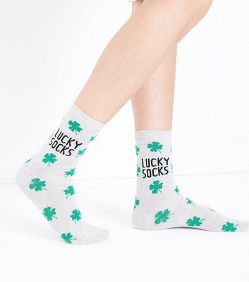 Pale Grey Clover Pattern Lucky Socks New Look