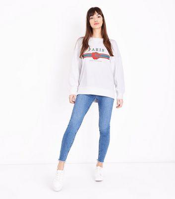 Tall White Paris Rose Slogan Sweatshirt New Look