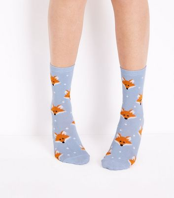 Pale Blue Fox Socks New Look