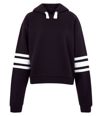 Teens Black Triple Stripe Sleeve Hoodie New Look