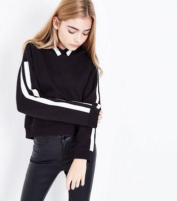 Teens Black Double Stripe Sleeve Hoodie New Look