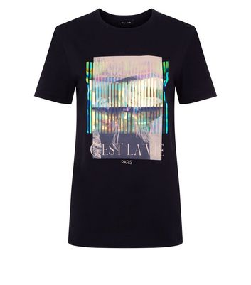 Black Holographic Print T-Shirt New Look