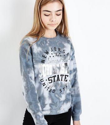 Teens Light Grey Logo Front Tie Dye Sweatshirt New Look