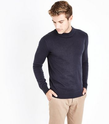 Navy Cotton Funnel Neck Long Sleeve Top New Look