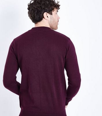 Burgundy Cotton Funnel Long Sleeve Neck Top New Look