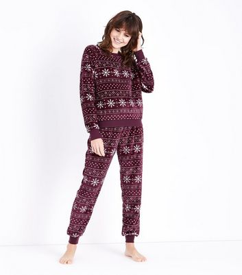Burgundy Fairisle Pyjama Joggers New Look