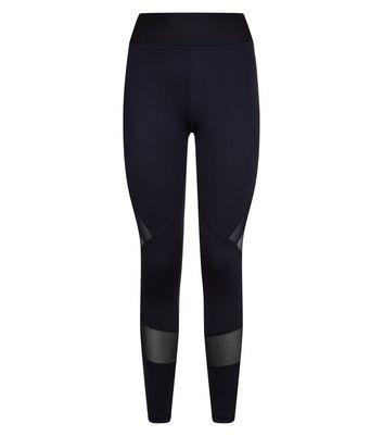 Black Mesh Trim Sports Leggings New Look