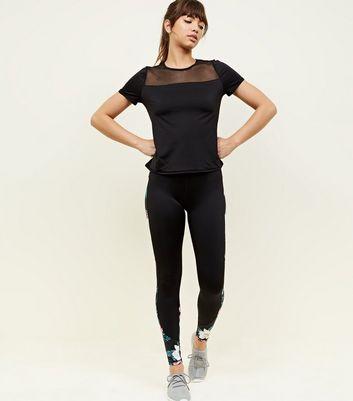 Black Mesh Panel Sports T-Shirt New Look