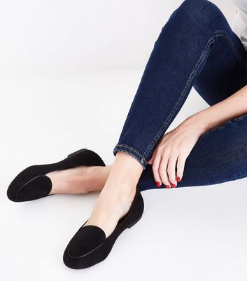 Black Suedette Piped Trim Loafers New Look