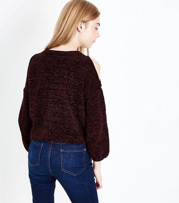 Teens Burgundy Chenille Cold Shoulder Jumper New Look