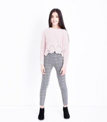 Teens Shell Pink Pointelle Hem Chenille Jumper New Look