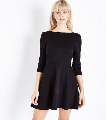 Black Scoop Back Skater Dress New Look