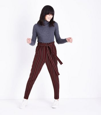 Tall Burgundy Stripe Paperbag Waist Trousers New Look