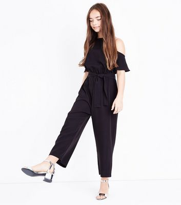 Teens Black High Neck Cold Shoulder Jumpsuit New Look