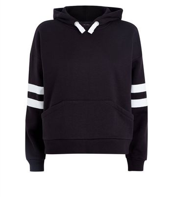 Teens Black Stripe Sleeve Oversized Hoodie New Look