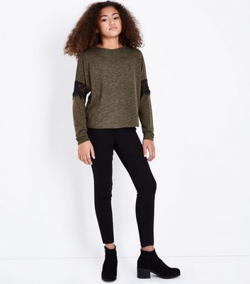 Teens Khaki Lace Trim Long Sleeve Top New Look