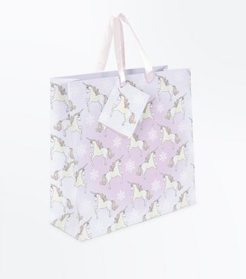 Christmas Unicorn Gift Bag New Look