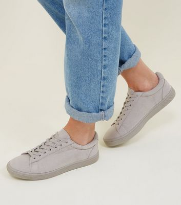 Grey Faux Suede Lace Up Trainers | New Look