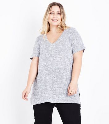 Curves Grey Lattice Back Fine Knit Top New Look