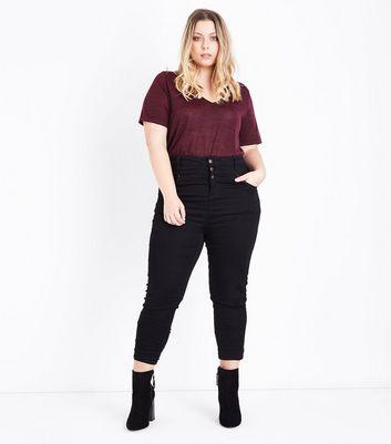 Curves Burgundy Lattice Back Fine Knit Top New Look