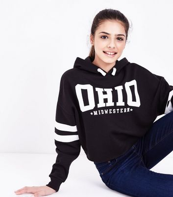 Teens Black Ohio Slogan Front Puff Print Hoodie New Look