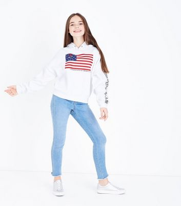 Teens White USA Slogan Print Sleeve Hoodie New Look
